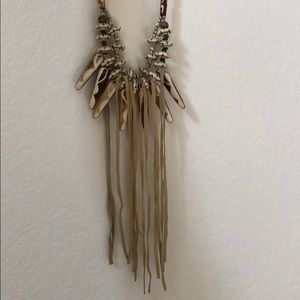 Urban Outfitters Bone and Leather Tassel Necklace